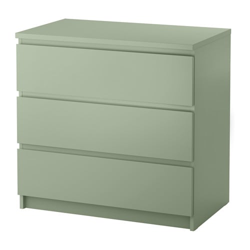 IKEA MALM chest of 3 drawers Smooth running drawers with pull-out stop.