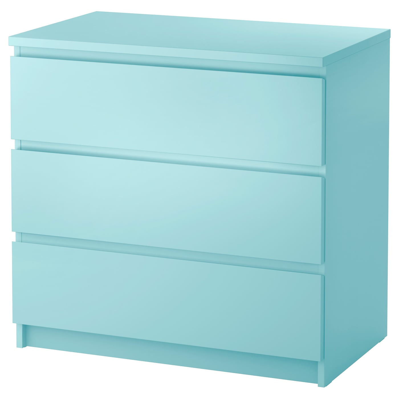 malm chest of 3 drawers light turquoise 80x78 cm ikea