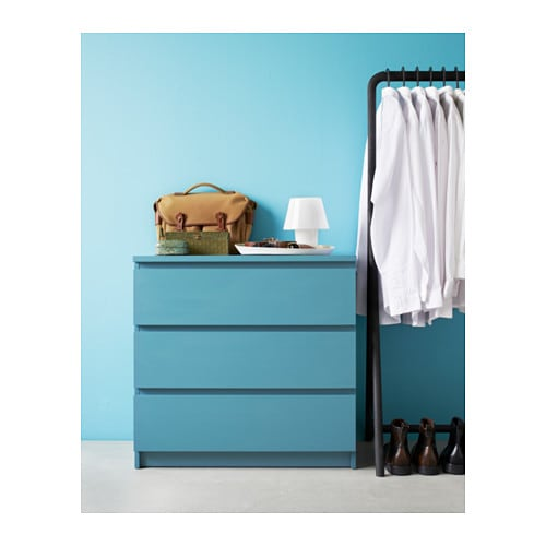 Malm chest of 3 drawers turquoise 80x78 cm ikea - Cassettiera malm ikea 4 cassetti ...