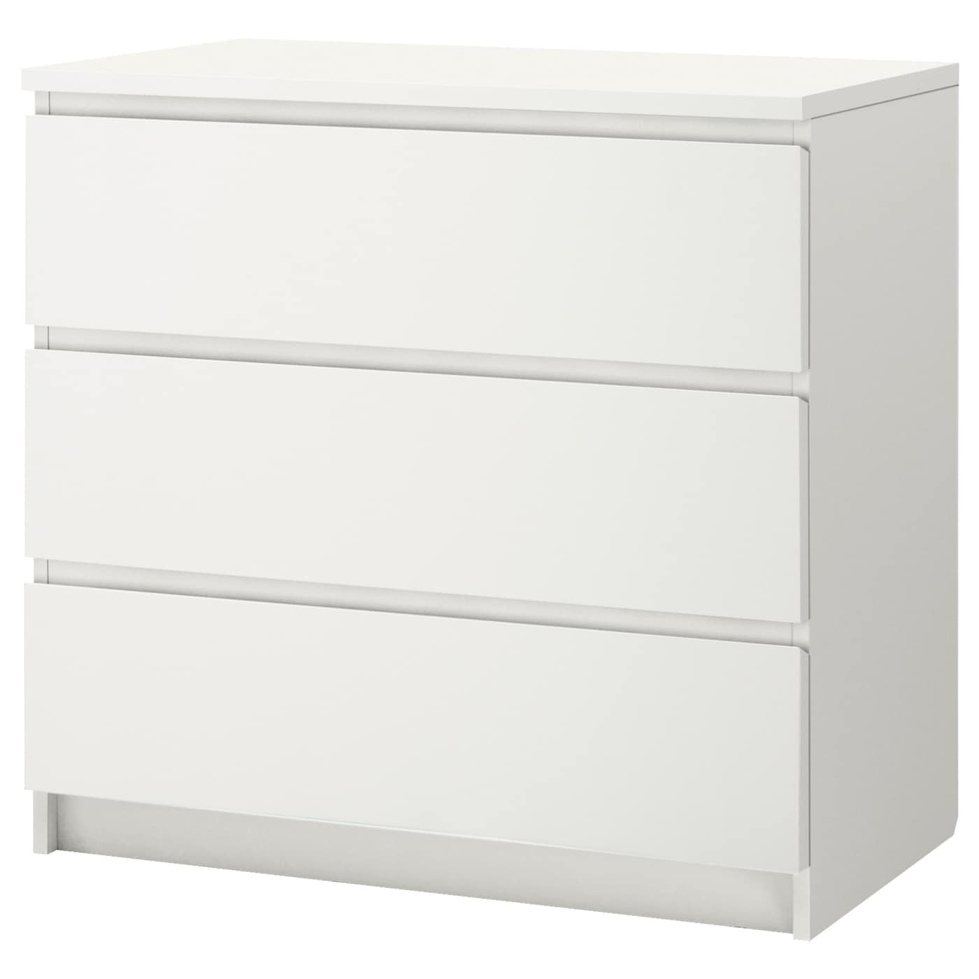 malm chest of 3 drawers white 80 x 78 cm ikea. Black Bedroom Furniture Sets. Home Design Ideas
