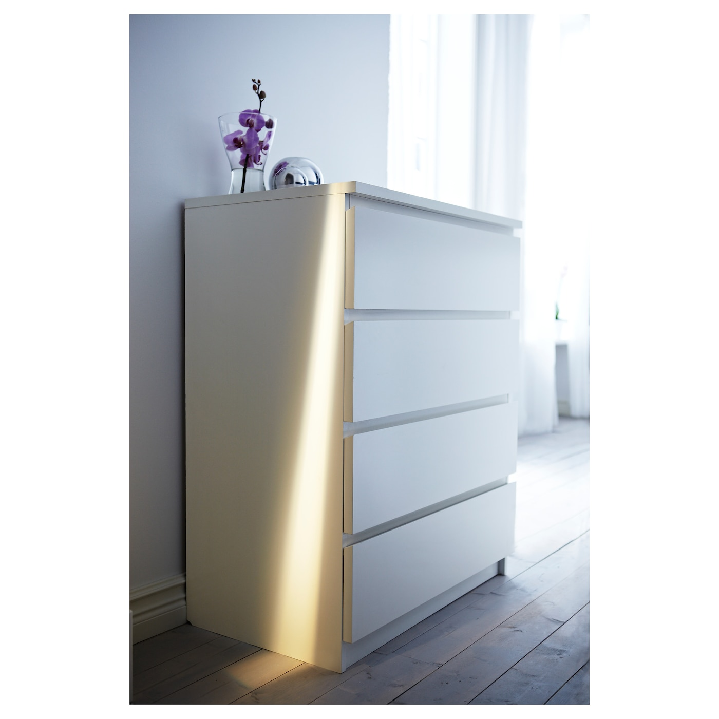 IKEA MALM chest of 4 drawers Smooth running drawers with pull-out stop.