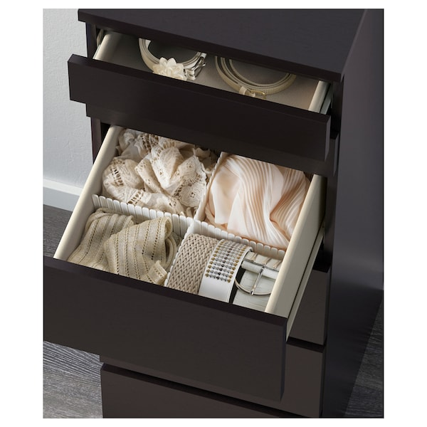 MALM chest of 6 drawers black-brown/mirror glass 40 cm 48.5 cm 123 cm 32 cm 43 cm