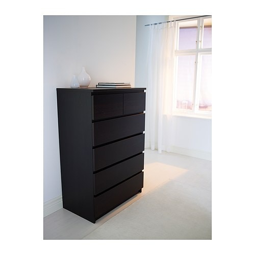 Malm chest of 6 drawers black brown 80x123 cm ikea - Ikea malm 6 tiroirs ...