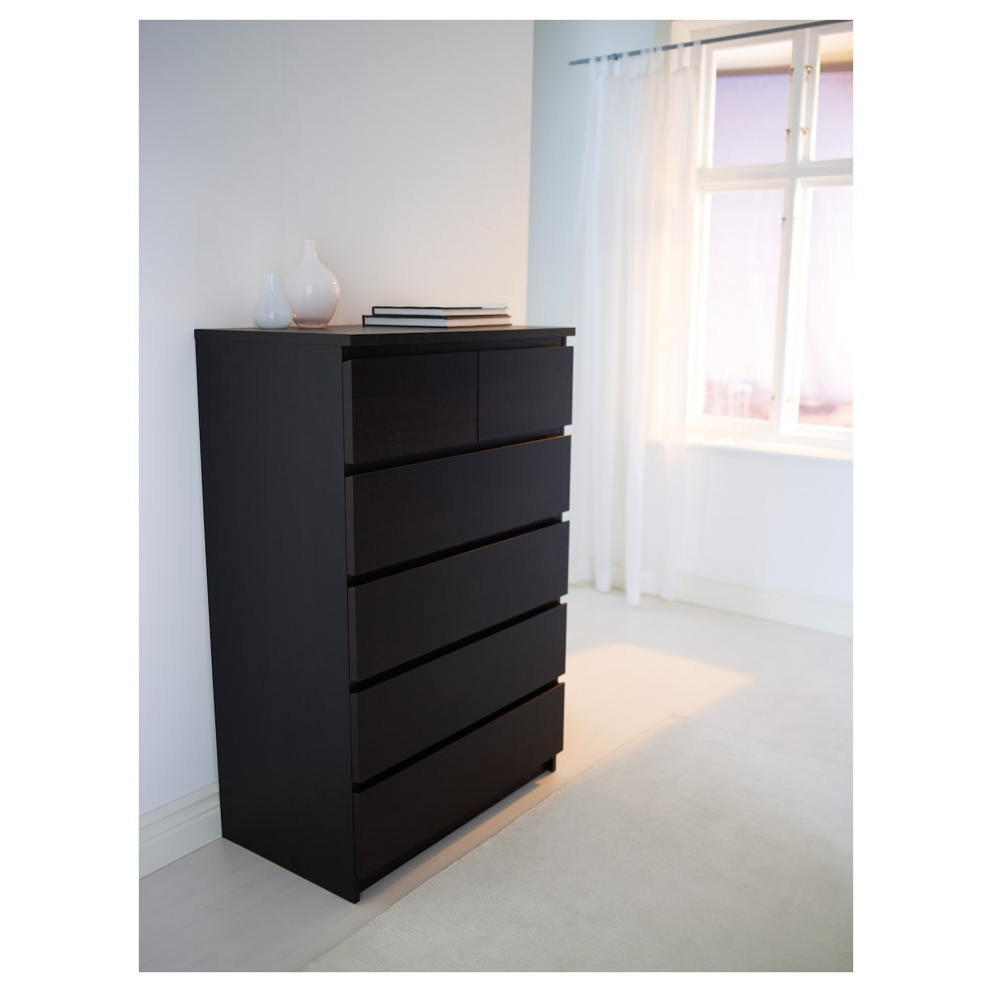 Malm Chest Of 6 Drawers Black Brown 80x123 Cm Ikea
