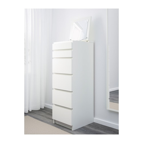 malm chest of 6 drawers white mirror glass 40x123 cm ikea. Black Bedroom Furniture Sets. Home Design Ideas