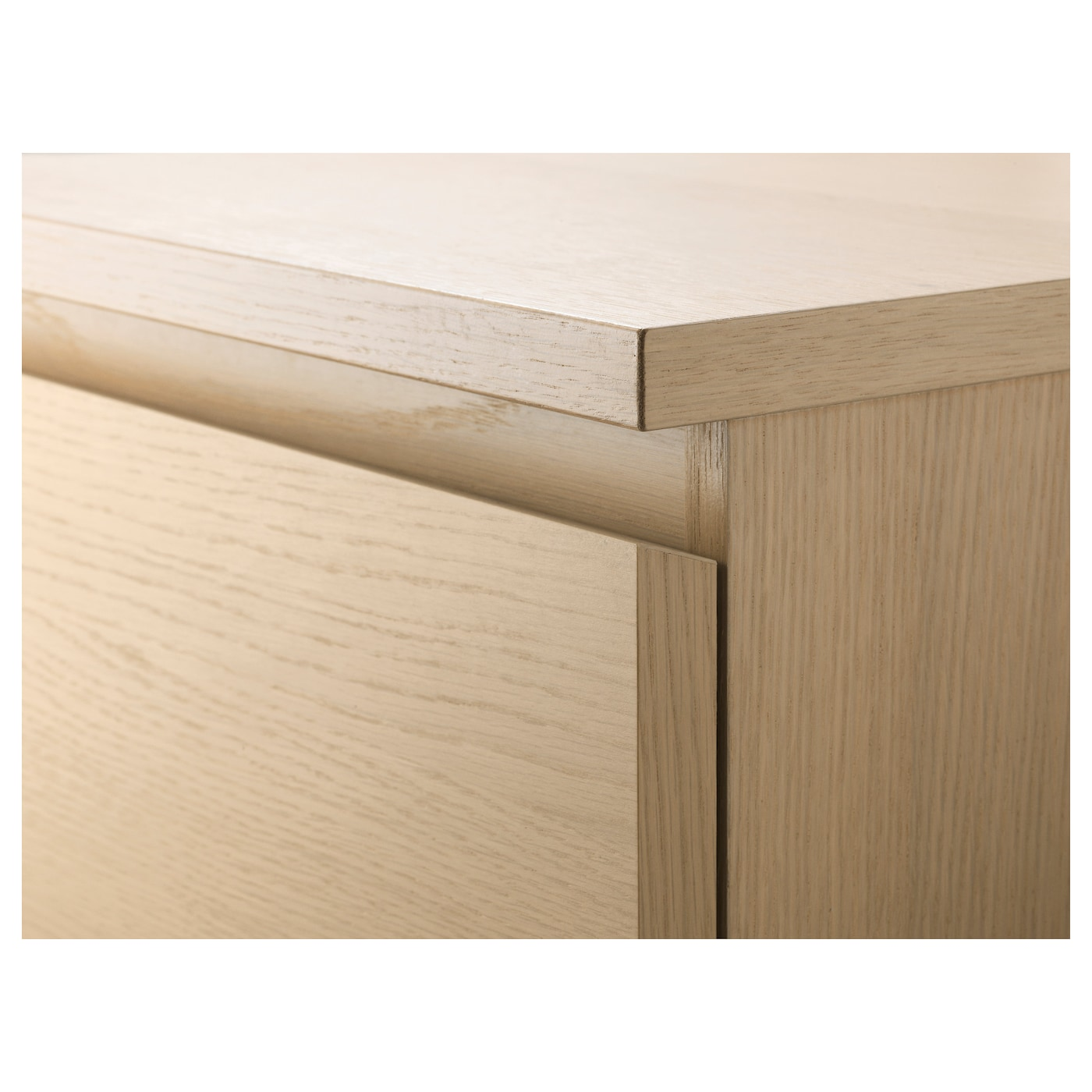 MALM Chest of 6 drawers, white stained oak veneer/mirror glass, 40x123 cm