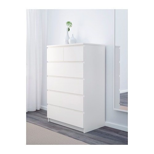 IKEA MALM chest of 6 drawers Smooth running drawers with pull-out stop ...