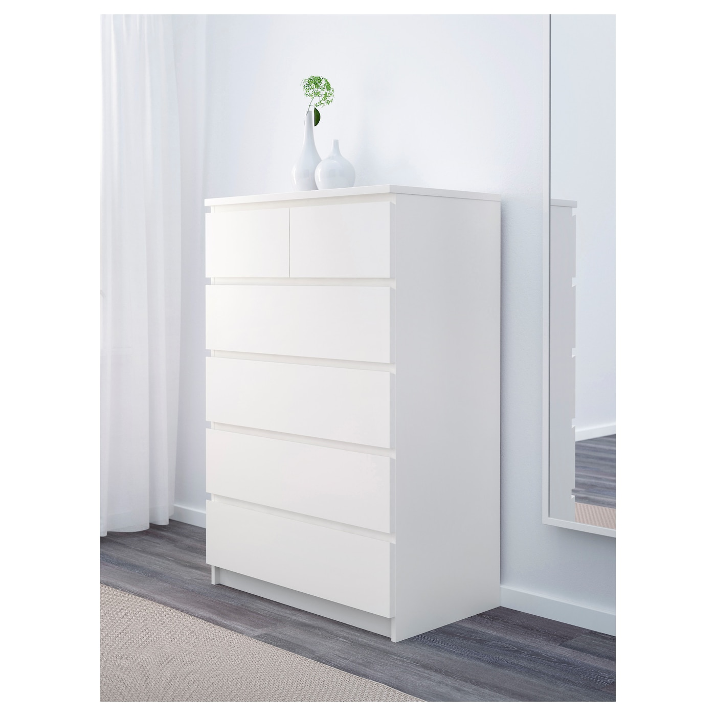 Superieur IKEA MALM Chest Of 6 Drawers Smooth Running Drawers With Pull Out Stop.