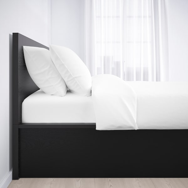 MALM Ottoman bed, black-brown, Standard Double