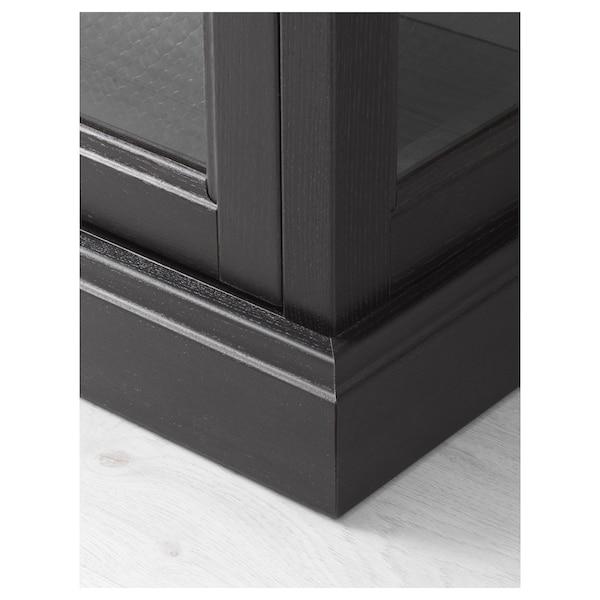 MALSJÖ Glass-door cabinet, black stained, 103x48x141 cm
