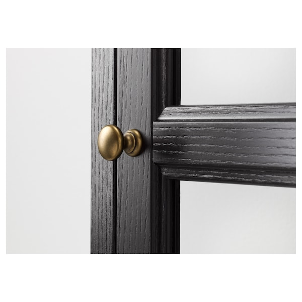 MALSJÖ Glass-door cabinet, black stained, 60x40x186 cm