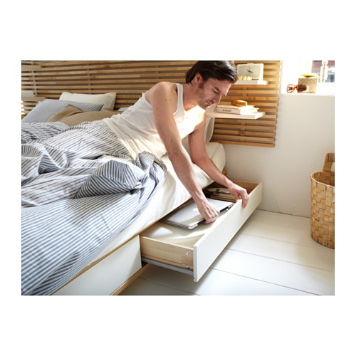 Ikea Aspelund Queen Bed Frame ~ MANDAL Bed frame with headboard Birch white 140×202 cm  IKEA