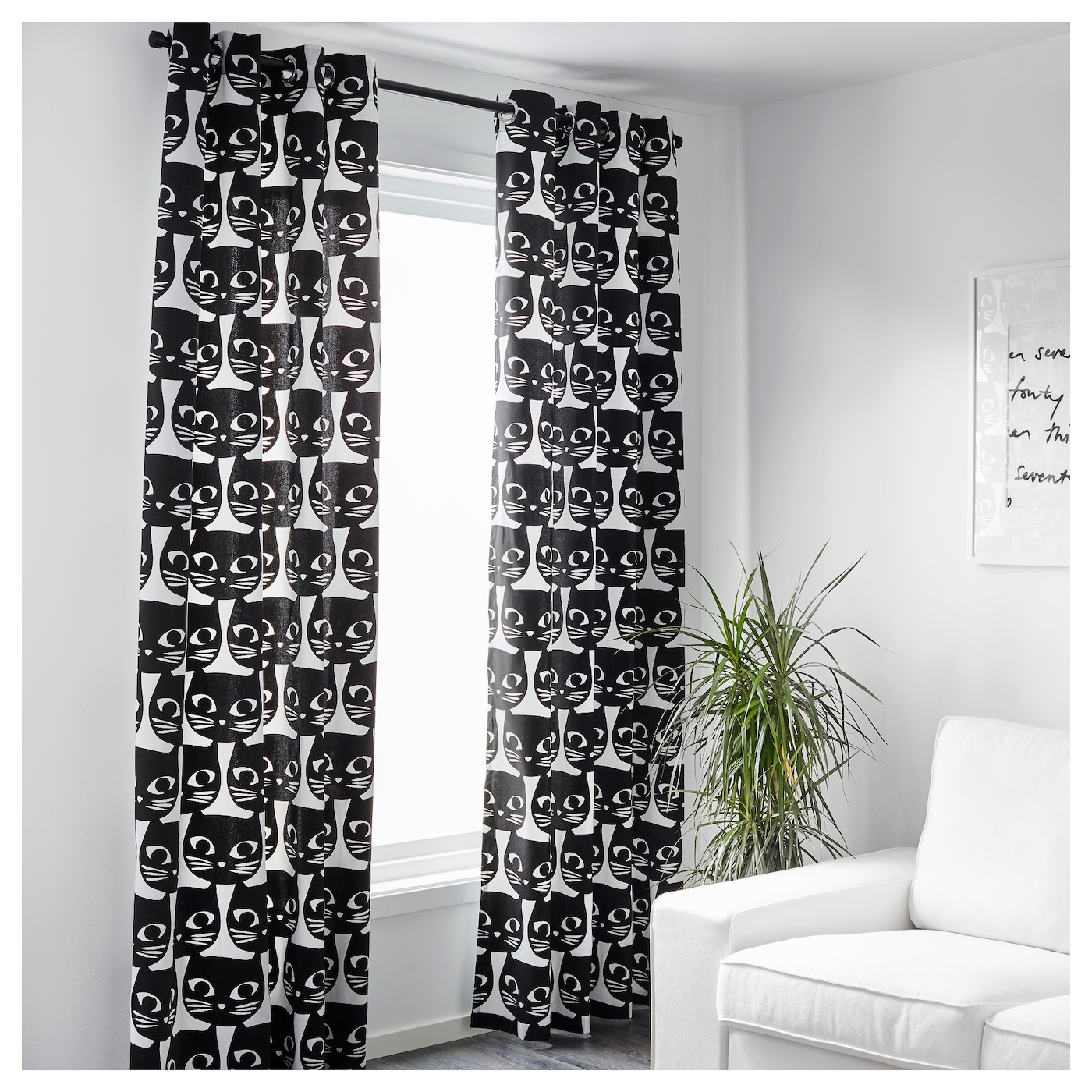 Black and white curtains - Mattram Curtains 1 Pair White Black 145x300 Cm Ikea