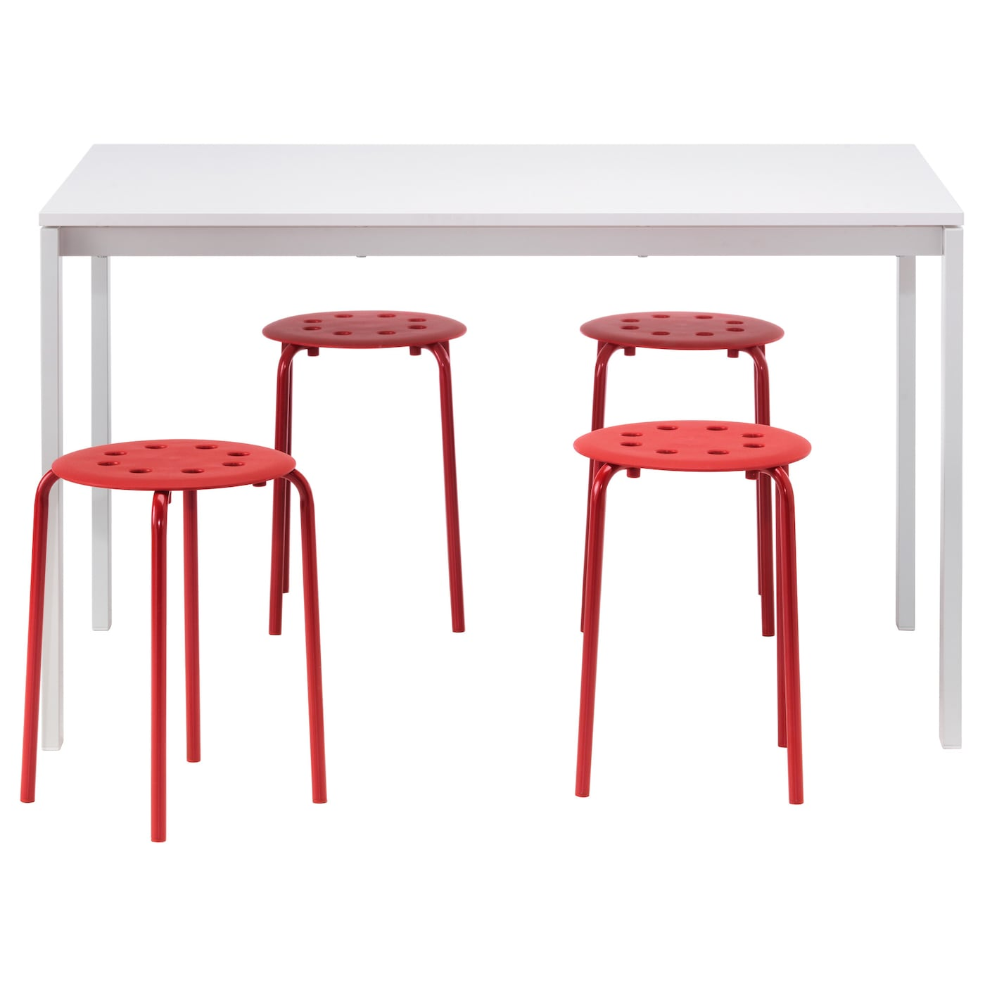 IKEA MELLTORP/MARIUS table and 4 stools