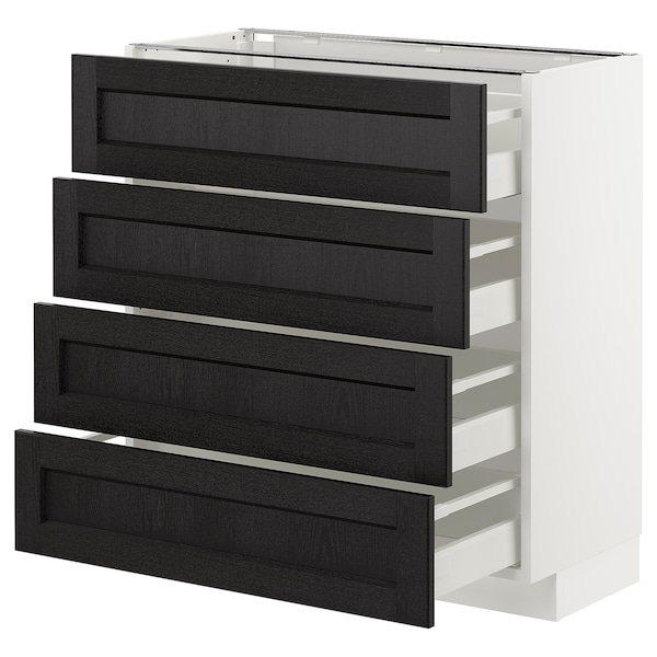 METOD Base cab 4 frnts/4 drawers, white/Lerhyttan black stained, 80x37 cm
