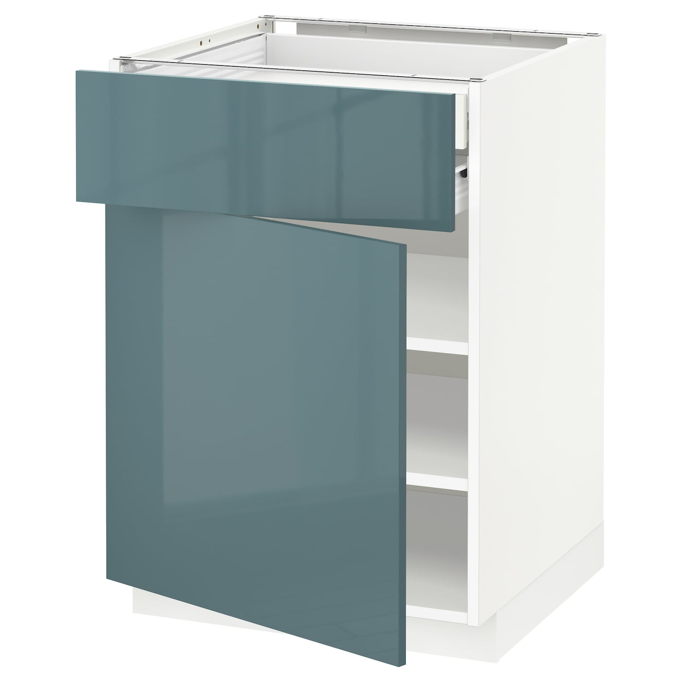 IKEA METOD base cab dr/front/shlvs/2 low drwrs Sturdy frame construction, 18 mm thick.