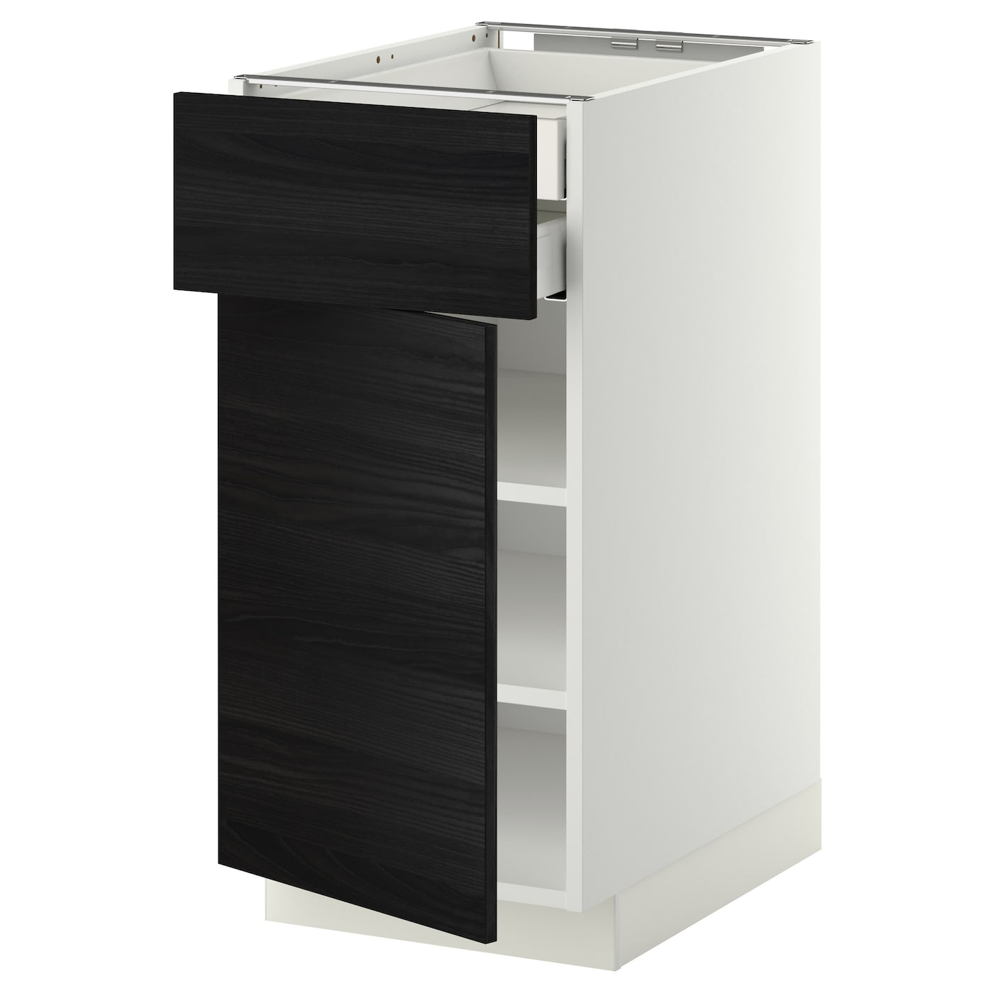 IKEA METOD base cab dr/front/shlvs/2 low drwrs Smooth-running drawer with drawer stop.