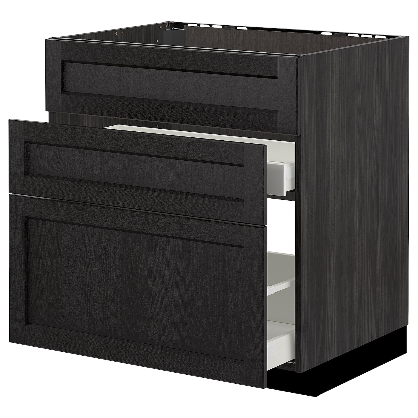 IKEA METOD base cab f sink+3 fronts/2 drawers Smooth-running drawer with drawer stop.
