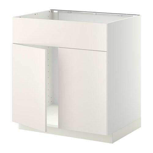 Metod Base Cabinet F Sink W 2 Doors Front White Veddinge White Ikea