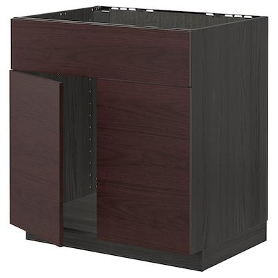 METOD base cabinet f sink w 2 doors/front black Askersund/dark brown ash effect 80.0 cm 61.6 cm 88.0 cm 60.0 cm 80.0 cm
