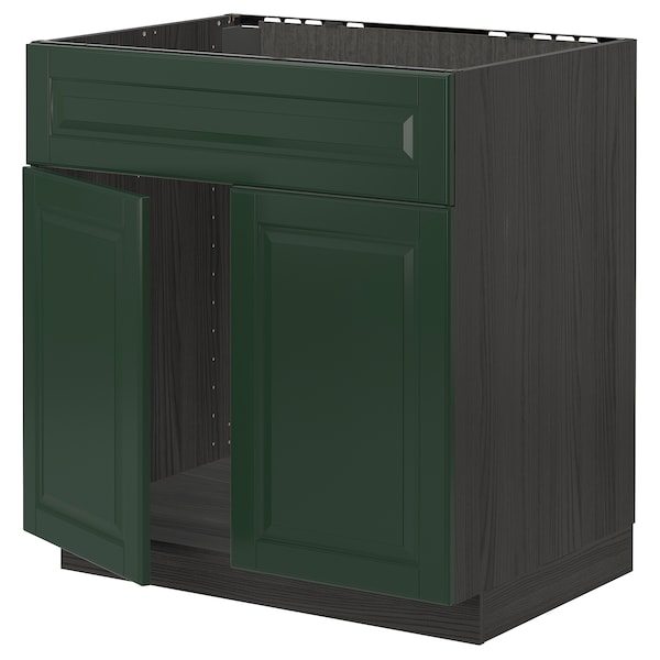 METOD Base cabinet f sink w 2 doors/front, black/Bodbyn dark green, 80x60 cm