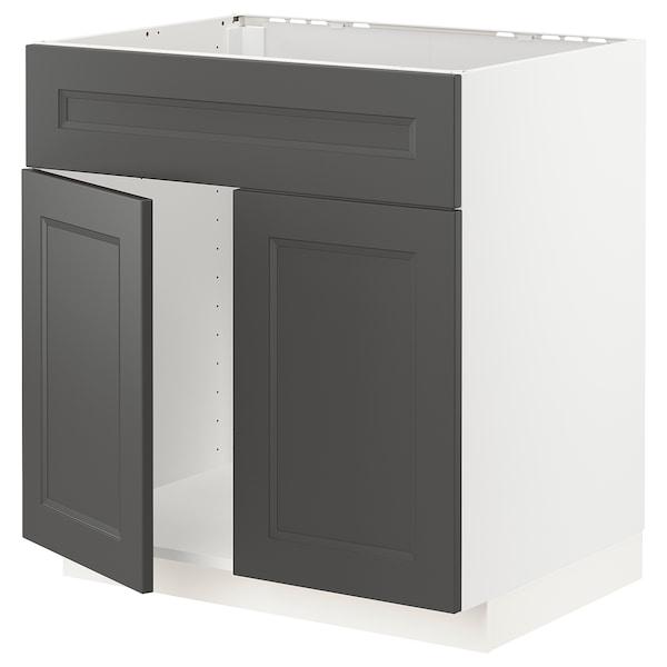 METOD Base cabinet f sink w 2 doors/front, white/Axstad dark grey, 80x60 cm