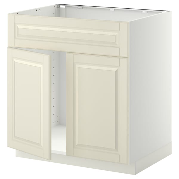 METOD Base cabinet f sink w 2 doors/front, white/Bodbyn off-white, 80x60 cm