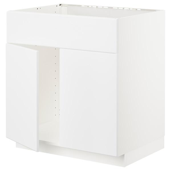 METOD Base cabinet f sink w 2 doors/front, white/Kungsbacka matt white, 80x60 cm
