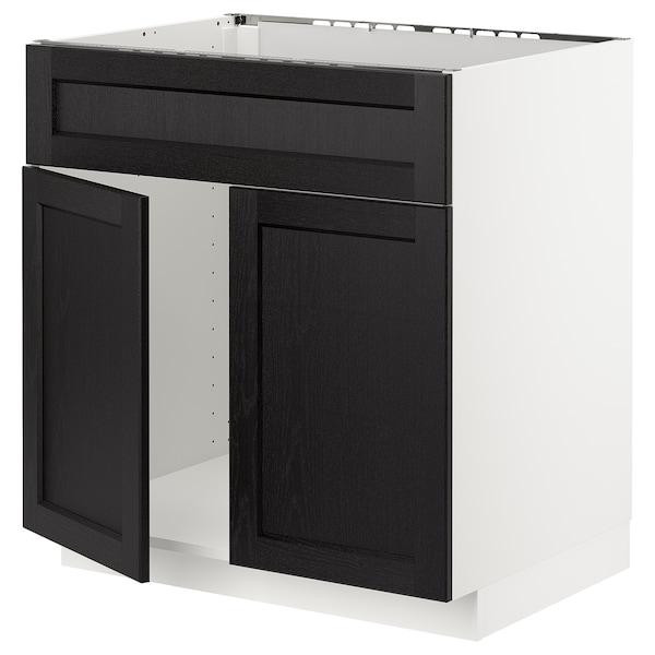 METOD Base cabinet f sink w 2 doors/front, white/Lerhyttan black stained, 80x60 cm