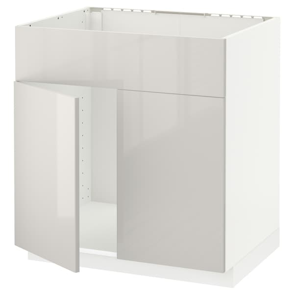 METOD Base cabinet f sink w 2 doors/front, white/Ringhult light grey, 80x60 cm
