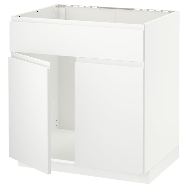 METOD Base cabinet f sink w 2 doors/front, white/Voxtorp matt white, 80x60 cm