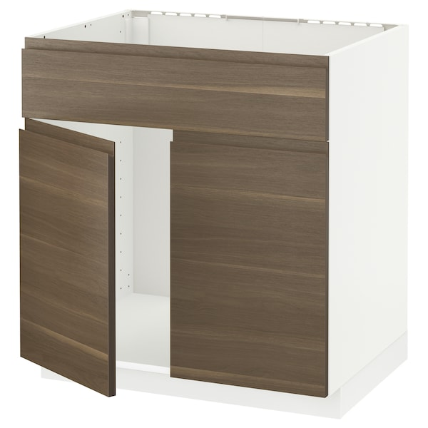 METOD Base cabinet f sink w 2 doors/front, white/Voxtorp walnut effect, 80x60 cm