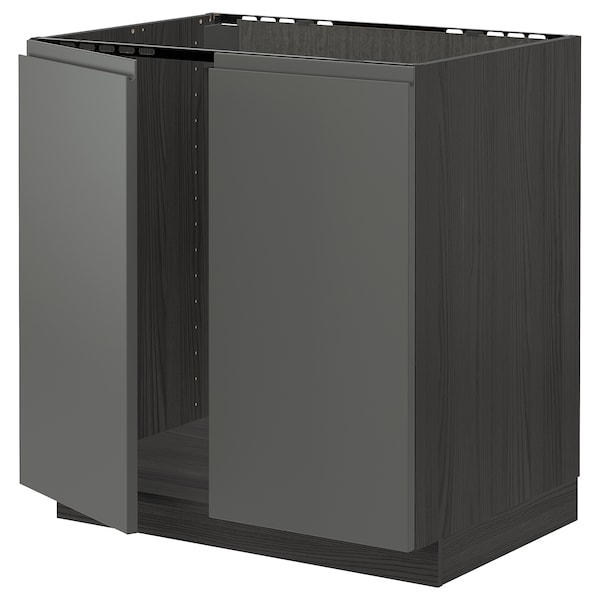 METOD Base cabinet for sink + 2 doors, black/Voxtorp dark grey, 80x60 cm