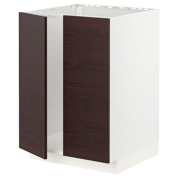 METOD Base cabinet for sink + 2 doors, white Askersund/dark brown ash effect, 60x60 cm