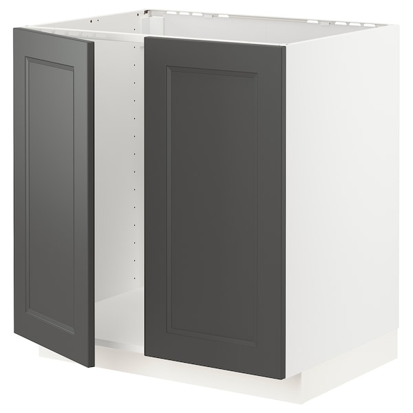 METOD Base cabinet for sink + 2 doors, white/Axstad dark grey, 80x60 cm