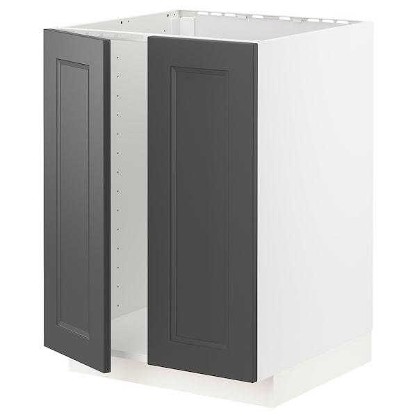 METOD Base cabinet for sink + 2 doors, white/Axstad dark grey, 60x60 cm