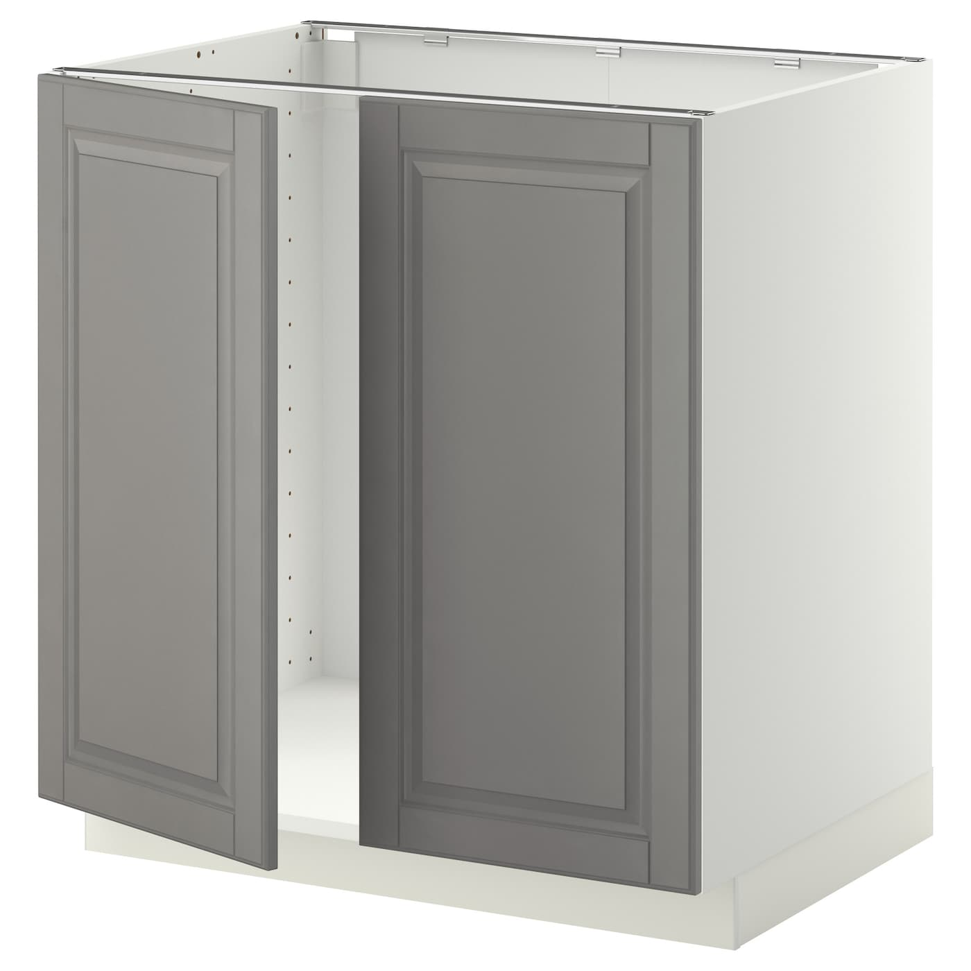Metod base cabinet for sink 2 doors white bodbyn grey - Ikea cabinet doors on existing cabinets ...