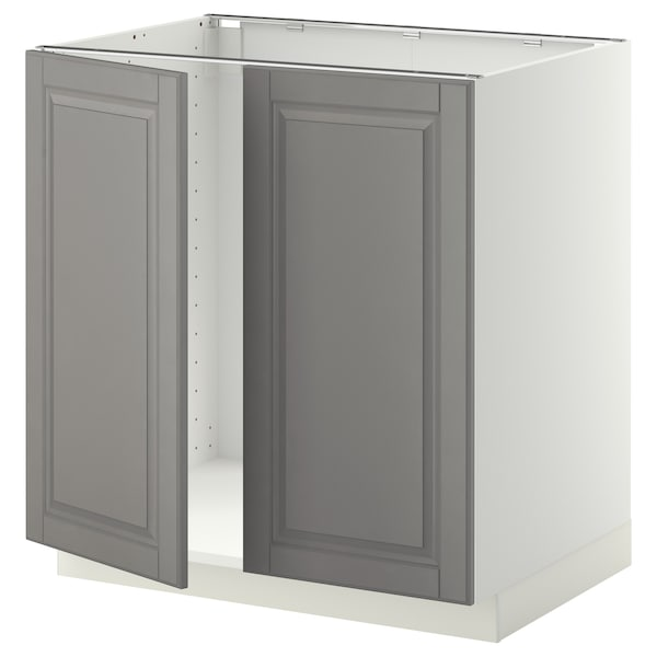 METOD Base cabinet for sink + 2 doors, white/Bodbyn grey, 80x60 cm