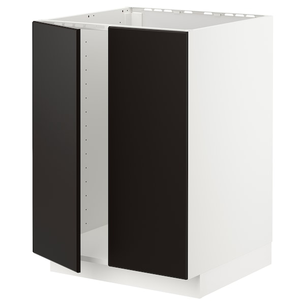 METOD Base cabinet for sink + 2 doors, white/Kungsbacka anthracite, 60x60 cm