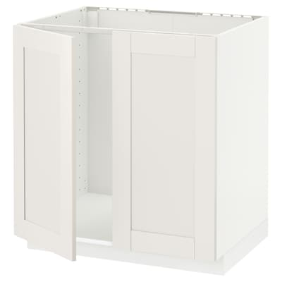 METOD Base cabinet for sink + 2 doors, white/Sävedal white, 80x60 cm