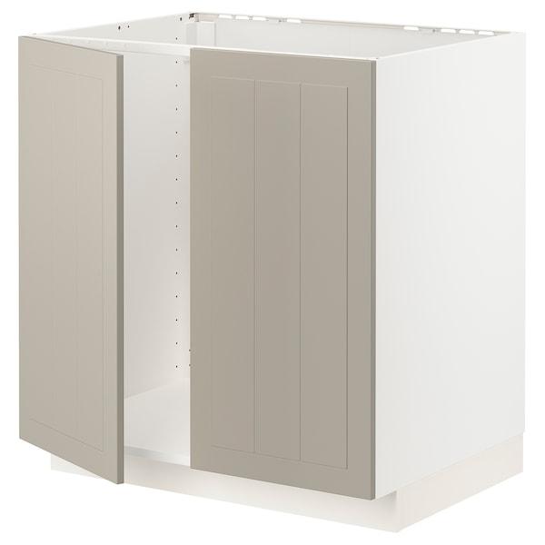 METOD Base cabinet for sink + 2 doors, white/Stensund beige, 80x60 cm
