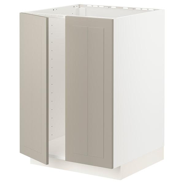 METOD Base cabinet for sink + 2 doors, white/Stensund beige, 60x60 cm