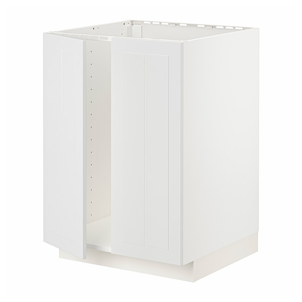 METOD Base cabinet for sink + 2 doors, white/Stensund white, 60x60 cm