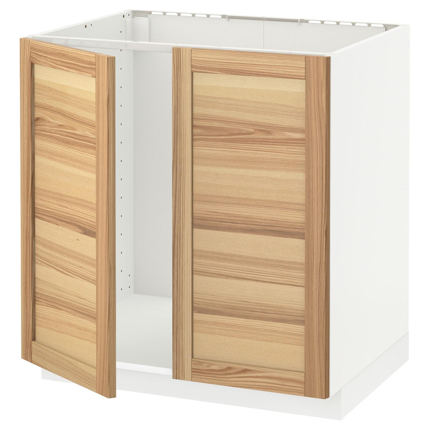 metod base cabinet for sink + 2 doors white/torhamn ash 80 x 60 cm