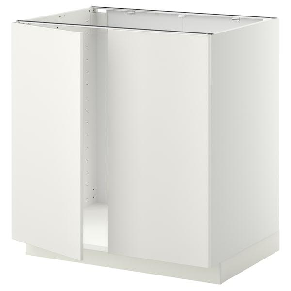 METOD Base cabinet for sink + 2 doors, white/Veddinge white, 80x60 cm