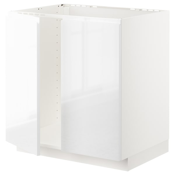 METOD Base cabinet for sink + 2 doors, white/Voxtorp high-gloss/white, 80x60 cm