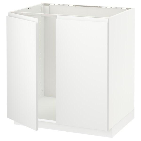 METOD Base cabinet for sink + 2 doors, white/Voxtorp matt white, 80x60 cm