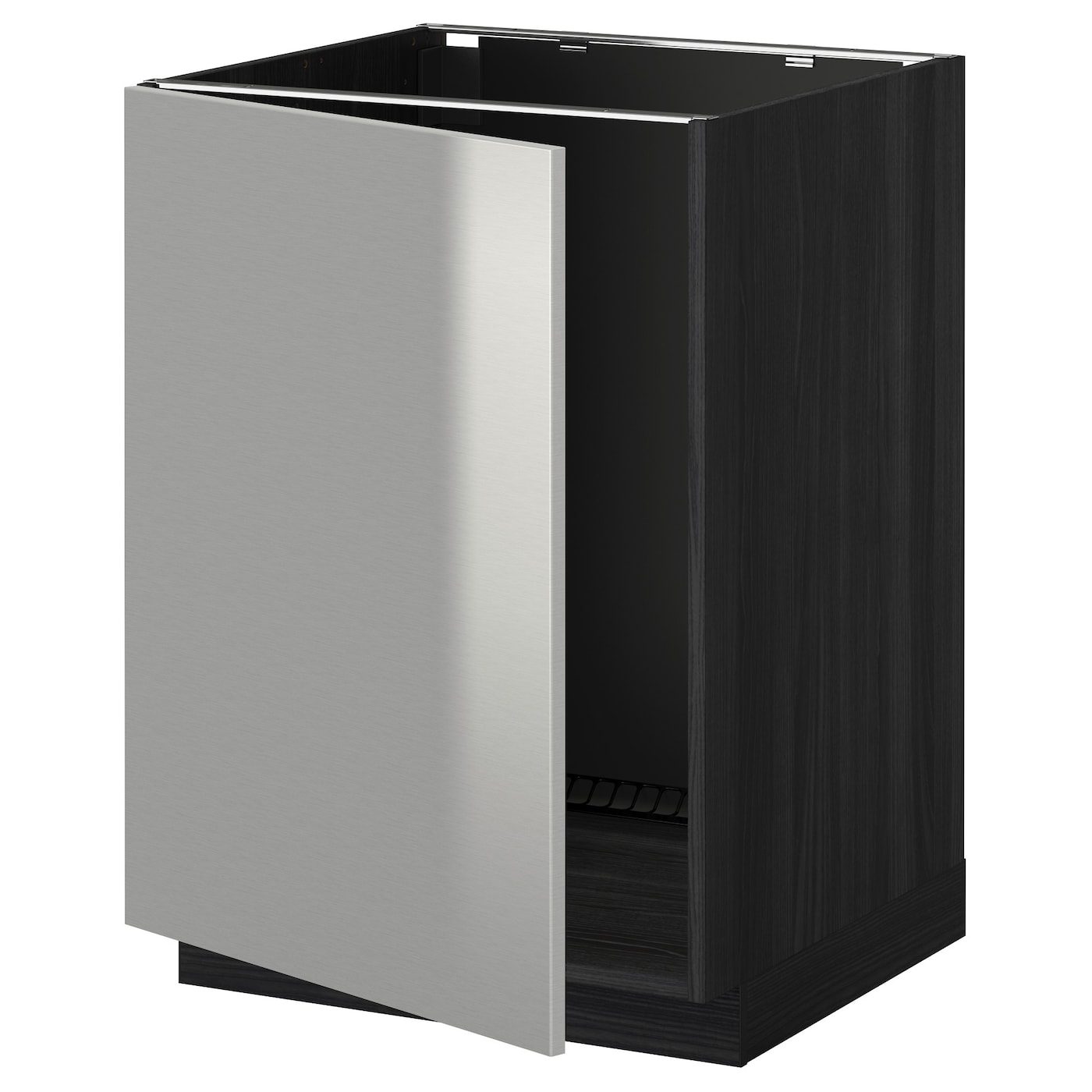 Metod base cabinet for sink black grevsta stainless steel for Stainless steel kitchen base cabinets