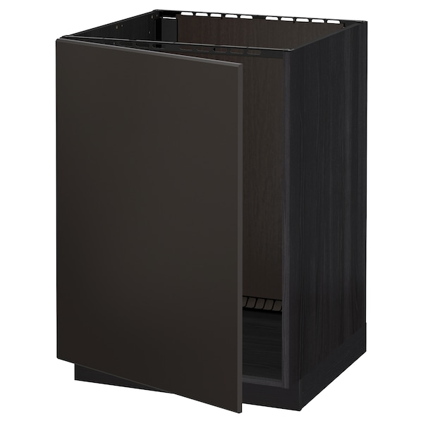 METOD base cabinet for sink black/Kungsbacka anthracite 60.0 cm 61.6 cm 88.0 cm 60.0 cm 80.0 cm