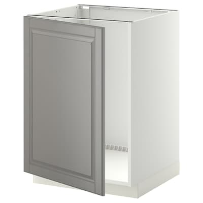 METOD Base cabinet for sink, white/Bodbyn grey, 60x60 cm